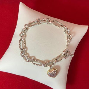 David Yurman 925 18K  Cable Heart Charm Bracelet